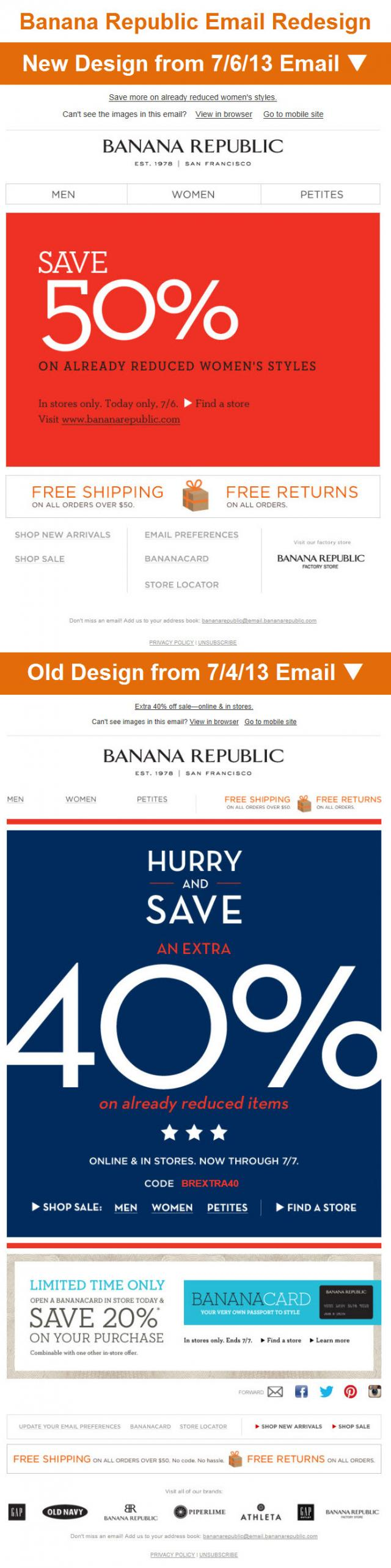 Banana Republic Email Redesign