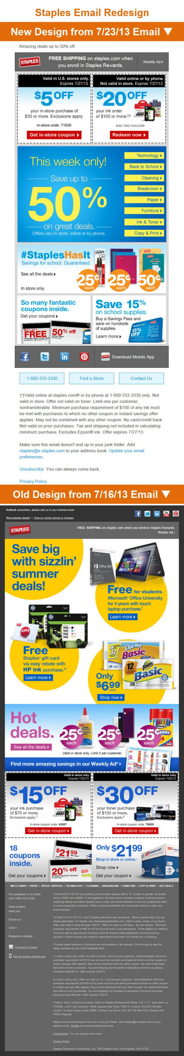 Staples Email Redesign
