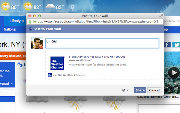 Weather.com has several fields auto-populated when sharing alerts to Facebook to minimize the barrier to sharing.