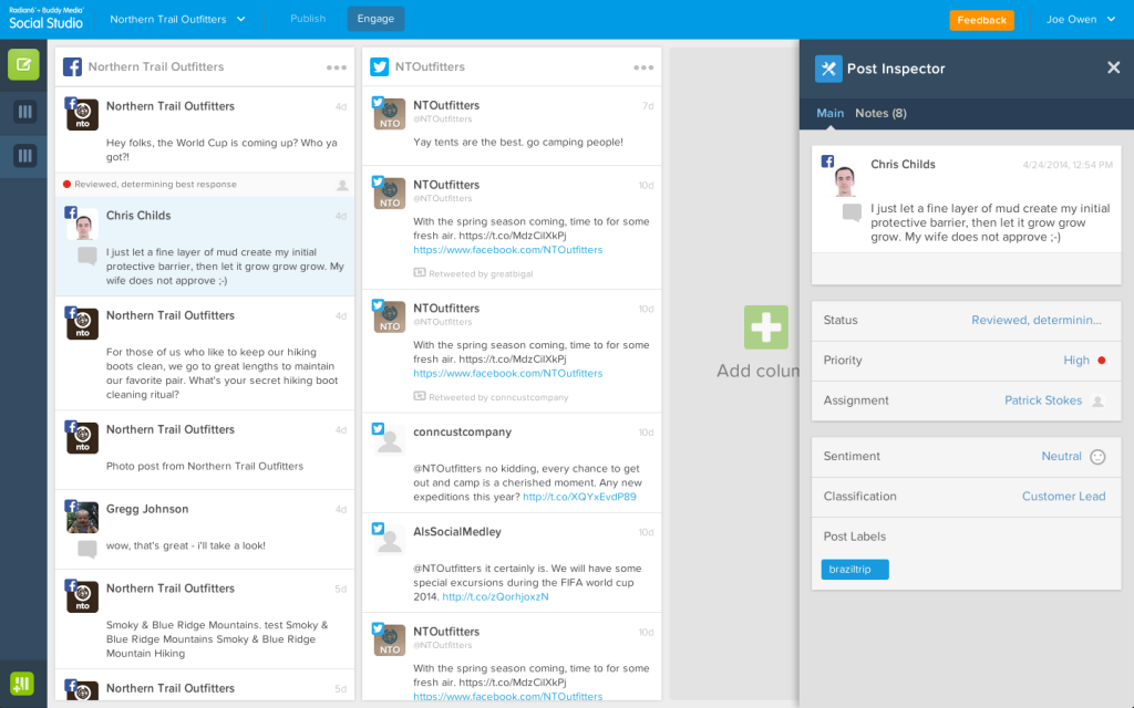 Social Studio management dashboard